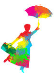 Mary Poppins Silhouette royalty-vrije illustratie