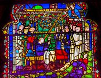 Mary Priests Stained Glass Window Orsanmichele Church Florence I. Taly. Church and stained glass from 1400s royalty free stock images