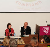 Mary Robinson and NIALL Crowley Royalty Free Stock Photo