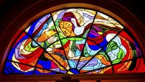 Mary Rose Stained Glass Basilica da senhora do rosário Fatima Portug fotografia de stock