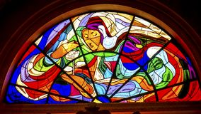 Mary Rose Stained Glass Basilica von Dame des Rosenbeetes Fatima Portug stockfotografie