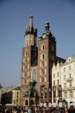 Mariacki Church in Cracow, Poland. Mary`s Church in Main Market Square in Cracow royalty free stock image