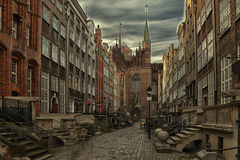 Mary's Street in Gdansk. In front of the picture the Basilica Stock Images