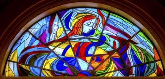 Mary Stained Glass Basilica av damen av radbandet Fatima Portugal Royaltyfri Fotografi