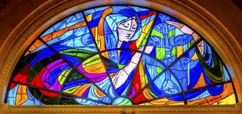 Mary Stained Glass Basilica av damen av radbandet Fatima Portugal Royaltyfria Bilder