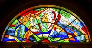 Mary Stained Glass Basilica da senhora do rosário Fatima Portugal imagens de stock royalty free