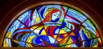 Mary Stained Glass Basilica da senhora do rosário Fatima Portugal fotografia de stock royalty free