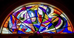 Mary Stained Glass Basilica von Dame des Rosenbeetes Fatima Portugal lizenzfreie stockbilder