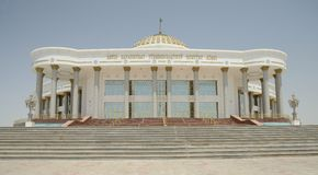 Mary, Turkmenistan. Marble building in Mary. City is located close to ancient Merv historical sites. Located on the ancient Silk Road Royalty Free Stock Photo