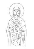 Mary und Jesus (Vektor) Stockfotos