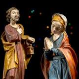 Mary Virgin et Saint Joseph Scène de nativité Traditions de Noël Images stock