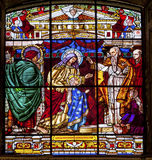 Mary Young Jesus Stained Glass Old Basilica Guadalupe Mexico City Royalty Free Stock Images