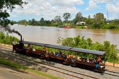 Mary Ann steam locomotive in Maryborough, QLD. Maryborough, Queensland, Australia - December 21, 2017. Mary Ann steam locomotive riding through Queens Park in royalty free stock photos
