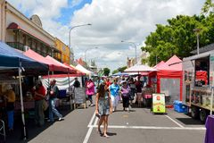 Maryborough Heritage Street Markets. Maryborough, Queensland, Australia - December 21, 2017. View of Maryborough Heritage Street Markets, with market stalls and Royalty Free Stock Photo
