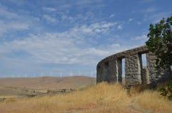 Maryhill Stonehenge and Wind Turbines Stock Image