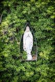 Maryjna statua i greenery, symbol chrześcijaństwo obrazy stock