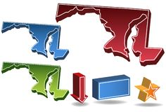 Maryland 3D. Set of 3D images of the State of Maryland with icons Stock Photography