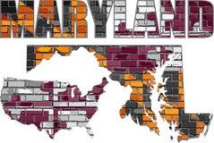 Maryland on a brick wall. Illustration, Font with the Maryland flag, Maryland map on a brick wall vector illustration