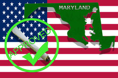 Maryland on cannabis background. Drug policy. Legalization of marijuana on USA flag, Royalty Free Stock Photography