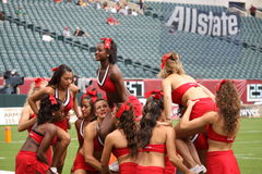 Maryland cheerleaders prepare to form a  pyramid Stock Photos