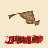 Maryland distressed map. Royalty Free Stock Images