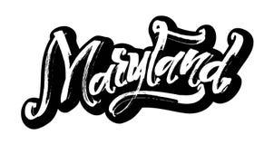 maryland etikett Modern kalligrafihandbokstäver för serigrafitryck Arkivfoto