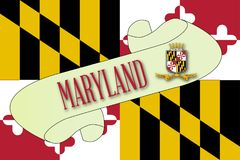 Maryland Flag Scroll. A scroll with the text Maryland with the flag of the state detail Stock Photo