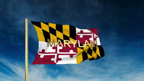 Maryland flag slider style with title. Waving in stock video