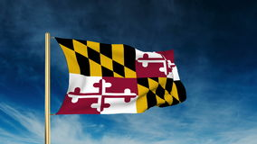 Maryland flag slider style. Waving in the win with. Maryland flag slider style. Waving with cloud background animation stock video footage