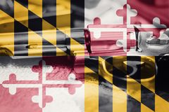 Maryland flag U.S. state Gun Control USA. United States. Gun Laws Royalty Free Stock Image