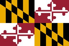 Maryland flaga również zwrócić corel ilustracji wektora ameryki stany zjednoczone zdjęcie stock