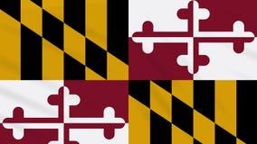 Maryland-Flagge flattert im Wind, Schleife für Hintergrund lizenzfreie abbildung