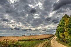 Maryland-Land-Straße im Herbst in der Dämmerung Lizenzfreie Stockfotografie