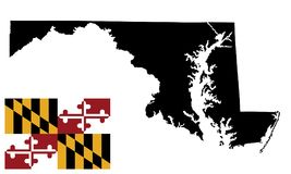 Maryland  map and Maryland  flag. Maryland  map isolated on white background. High detailed silhouette illustration. Vector flag of the United States of America Royalty Free Stock Images