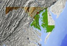 Maryland, mapa de relevo Ilustração Stock