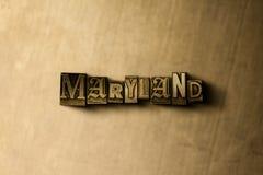 MARYLAND - närbild av det typsatta ordet för grungy tappning på metallbakgrunden Royaltyfri Foto