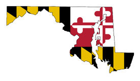 Maryland Outline Map and Flag Royalty Free Stock Photo