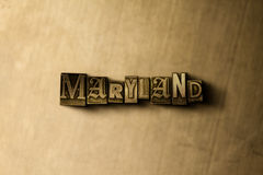 MARYLAND - primer de la palabra compuesta tipo vintage sucio en el contexto del metal Foto de archivo libre de regalías