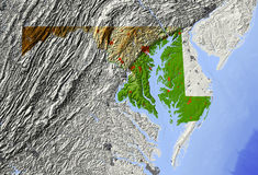 Maryland, relief map. Maryland. Shaded relief map Royalty Free Stock Photos