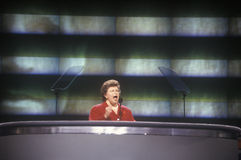 Maryland Senator Barbara McCloskey addresses crowd at the 1992 Democratic National Convention at Madison Square Garden, New York Royalty Free Stock Images