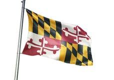 Maryland-Staat von fahnenschwenkendem Vereinigter Staaten lokalisiert auf realistischer Illustration 3d des weißen Hintergrundes lizenzfreie abbildung