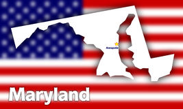 Maryland state contour. With Capital City against blurred USA flag Royalty Free Stock Photos