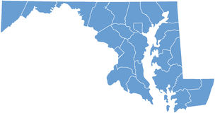Maryland State by counties royalty free stock photography