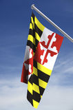 Maryland state flag. An illustrated flag of the state of Maryland in the USA. Flag is hanging from a flagpole and set against the sky. Comes with clipping path stock illustration