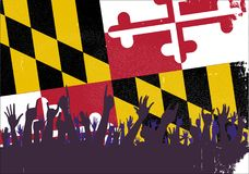 Maryland State Flag with Audience Reaction. Audience happy reaction with Maryland State flag background Stock Photo