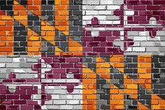 Maryland State Flag on a brick wall. Illustration Royalty Free Stock Images