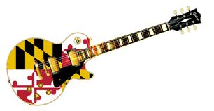 Maryland State Flag Guitar. The definitive rock and roll guitar with the Maryland State flag seal flag isolated over a white background Royalty Free Stock Image