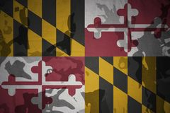 Maryland state flag on the khaki texture . military concept Stock Images