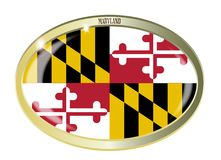Maryland State Flag Oval Button. Oval metal button with the Maryland flag isolated on a white background Stock Photos