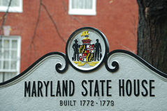 Maryland State House Sign. A sign outside the Maryland State House in Annapolis Royalty Free Stock Image